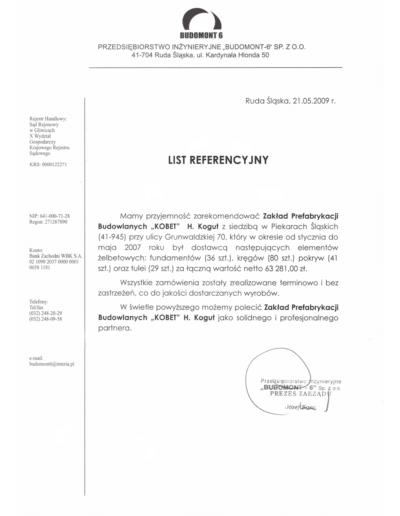 Referencje BUDOMONT 6 dla KOBET Piekary Śląskie 2009 | www.kobet.pl