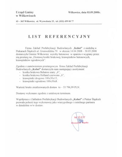 Referencje URZĘDU GMINY W WILKOWICACH dla KOBET Piekary Śląskie 2008 | www.kobet.pl
