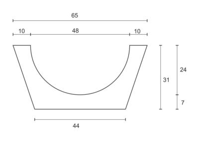 Korytko Górskie 50x65/44x24 cm - rzut pionowy 1