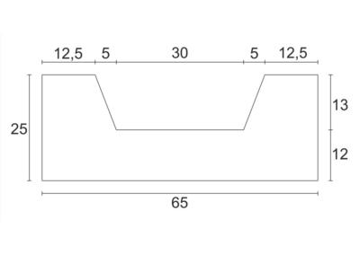Korytko D-7 50x65x25 cm - rzut pionowy