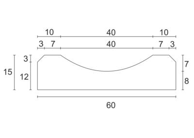 Korytko D-8 50x60x15 cm - rzut pionowy