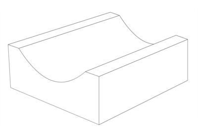 Korytko Płytkie D 33x30x10 cm - rysunek 3D