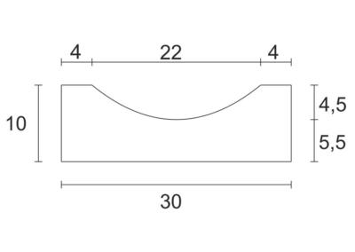 Korytko Płytkie D 33x30x10 cm - rzut pionowy