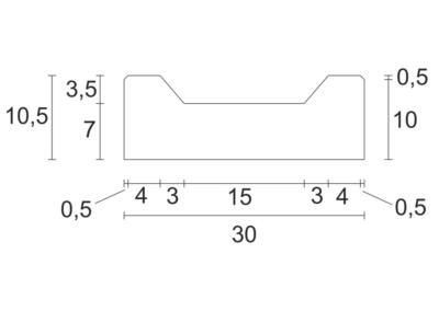 Korytko Trapezowe Płytkie 30x30x10,5 cm - rzut pionowy