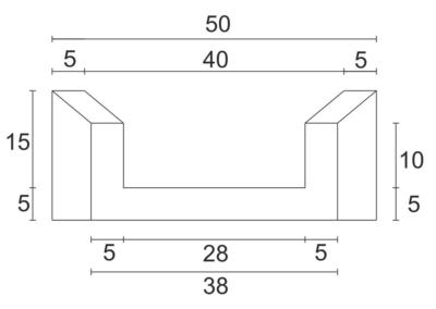 Korytko Skarpowe Trapezowe 38x50x50 cm - rzut pionowy 1