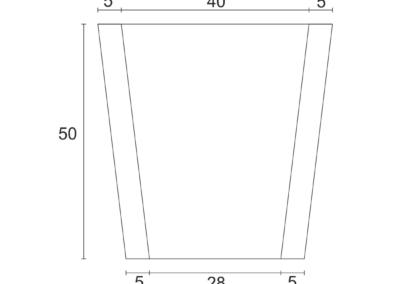 Korytko Skarpowe Trapezowe 38x50x50 cm - rzut poziomy