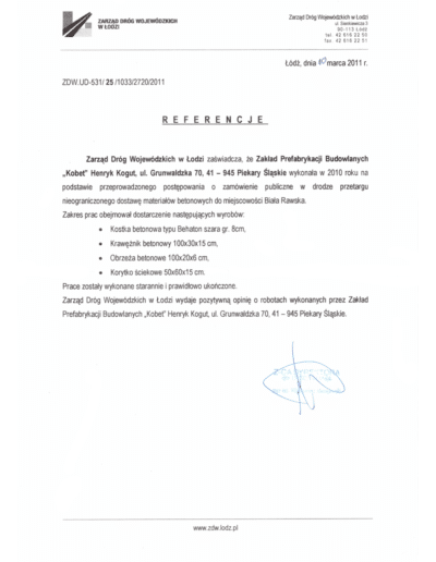 Referencje ZARZĄDU DRÓG WOJEWÓDZKICH I MOSTÓW dla KOBET Piekary Śląskie 2011 | www.kobet.pl