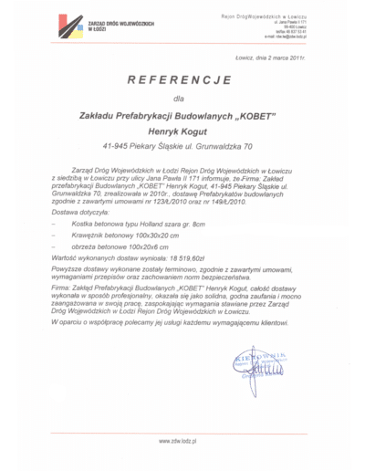 Referencje ZARZĄDU DRÓG WOJEWÓDZKICH W ŁODZI dla KOBET Piekary Śląskie 2011 | www.kobet.pl