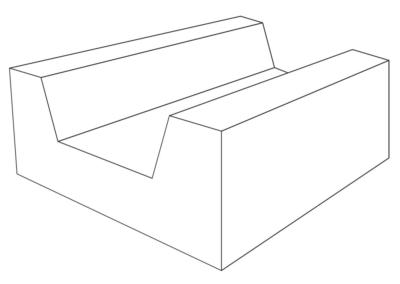Korytko D-7 50x65x25 cm - rysunek 3D