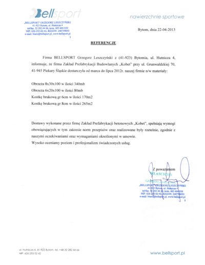 Referencje BELLSPORT dla KOBET Piekary Śląskie 2013 | www.kobet.pl