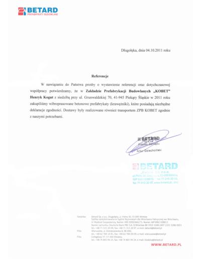Referencje BETARD dla KOBET Piekary Śląskie 2011 | www.kobet.pl