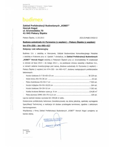 Referencje BUDIMEX dla KOBET Piekary Śląskie 2013 | www.kobet.pl