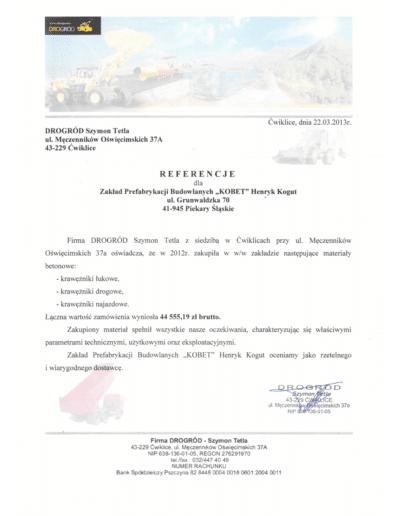 Referencje DROGRÓD dla KOBET Piekary Śląskie 2013 | www.kobet.pl