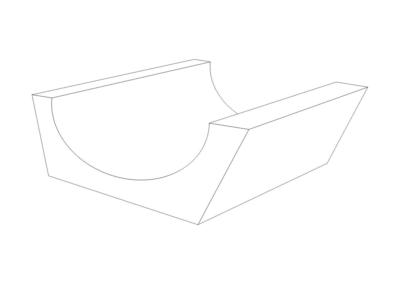 Korytko Górskie 50x65/44x24 cm - rysunek 3D