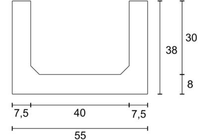 Korytko Skrzynkowe dł. 50 cm - rzut pionowy