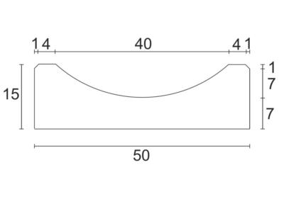 Korytko K-2 50x50x15 cm - rzut pionowy