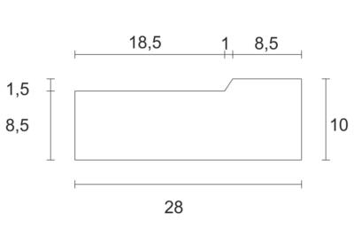 Korytko Przykrawężnikowe D 50x8x10 cm - rzut pionowy