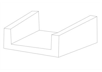 Korytko Skarpowe Trapezowe 38x50x50 cm - rysunek 3D