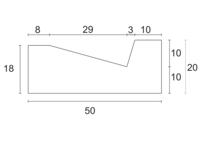 Korytko Trójkątne 50x50x20 cm - rzut pionowy