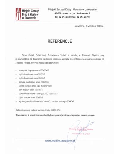 Referencje MIEJSKIEGO ZARZĄD DRÓG I MOSTÓW W JAWORZNIE dla KOBET Piekary Śląskie 2008 | www.kobet.pl