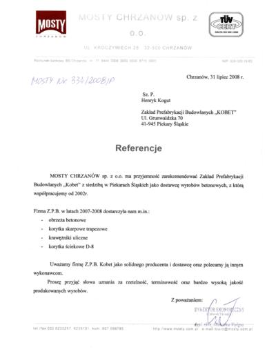 Referencje MOSTY CHRZANÓW dla KOBET Piekary Śląskie 2008 | www.kobet.pl