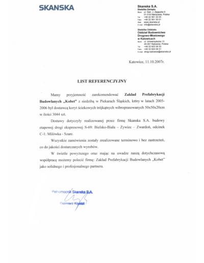 Referencje SKANSKA dla KOBET Piekary Śląskie 2007 | www.kobet.pl