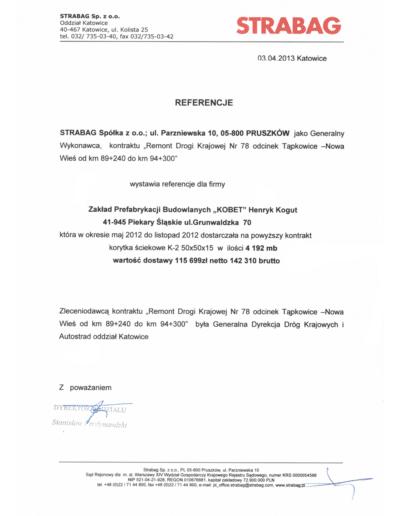 Referencje STRABAG dla KOBET Piekary Śląskie 2013 | www.kobet.pl