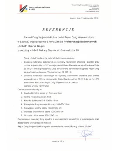 Referencje ZARZĄDU DRÓG WOJEWÓDZKICH W ŁODZI dla KOBET Piekary Śląskie 2010 | www.kobet.pl